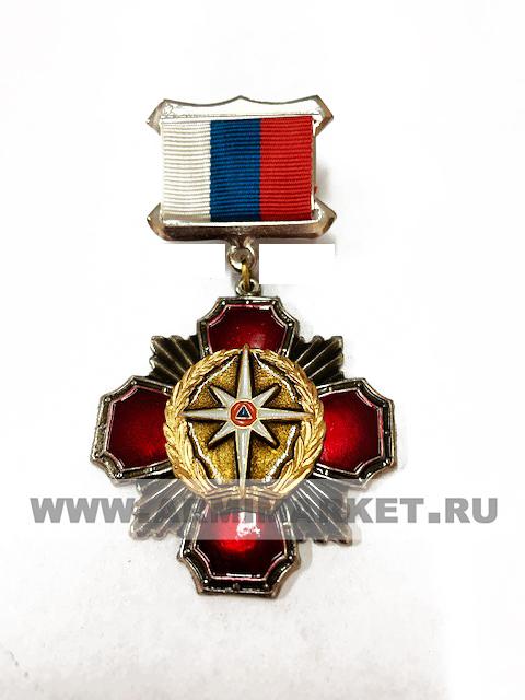 0077 Значок сталь Колодка -рос.флаг, красный крест, МЧС