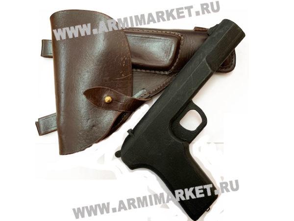 Пистолет сувенирный деревянный ТТ в кожаной кобуре