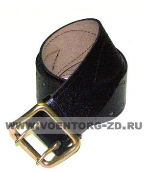 Ремень чёрный офицерский кожаный (с пряжкой на двух штырьках) разм.6