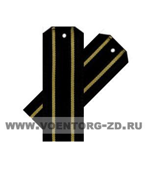 Погоны для офисного костюма чёрные 2 жёлтых просвета ткань рип-стоп