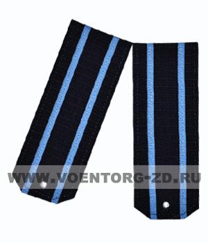 Погоны для офисного костюма синие 2 голубых просвет ткань рип-стоп вышитые