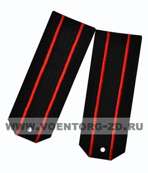 Погоны для офисного костюма чёрные 2 красный просвет ткань рип-стоп