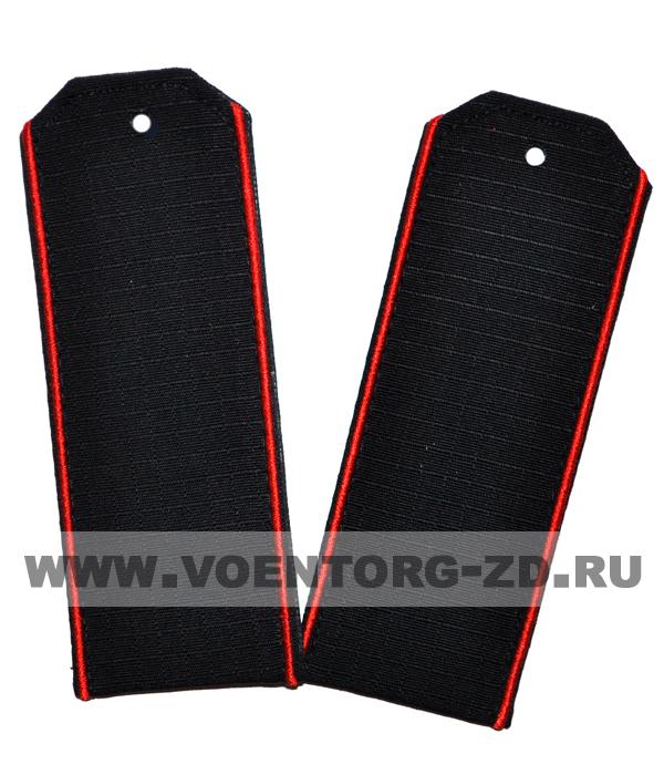 Погоны для офисного костюма чёрные красный кант ткань рип-стоп