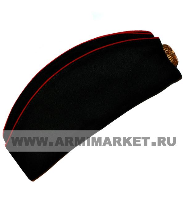 Пилотка для СВУ и КК черная из ткани п/ш 2 красных канта р.54-61