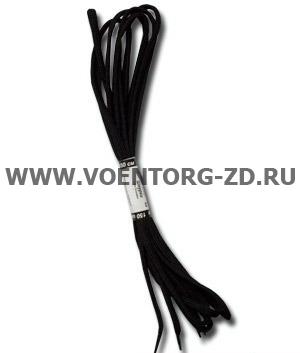 Шнурки А-005 150 см. черные с металлическими наконечниками