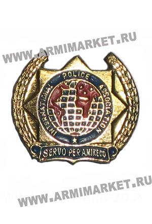 """0414з Значок золотой """"International Police Association """" (Интерпол)"""