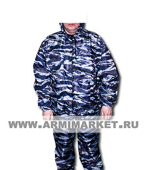 Костюм ВВЗ серо-голубой камуфляж ветровлагозащитный в чехле р. 44-62