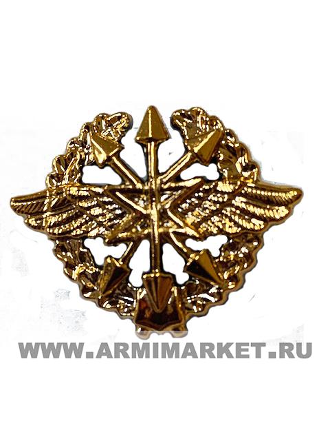 Эмблема Войска связи (старая в венке) золотая пластик