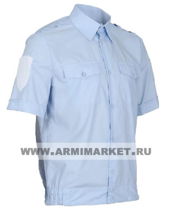 Рубашка полиции голубая с коротким рукавом и липучками на резинке р.43/3,4,5,  44/3,4,5,6,  45/4,5,6