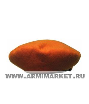 Берет оранжевый (бесшовный, Ш 100%) р. 55-60