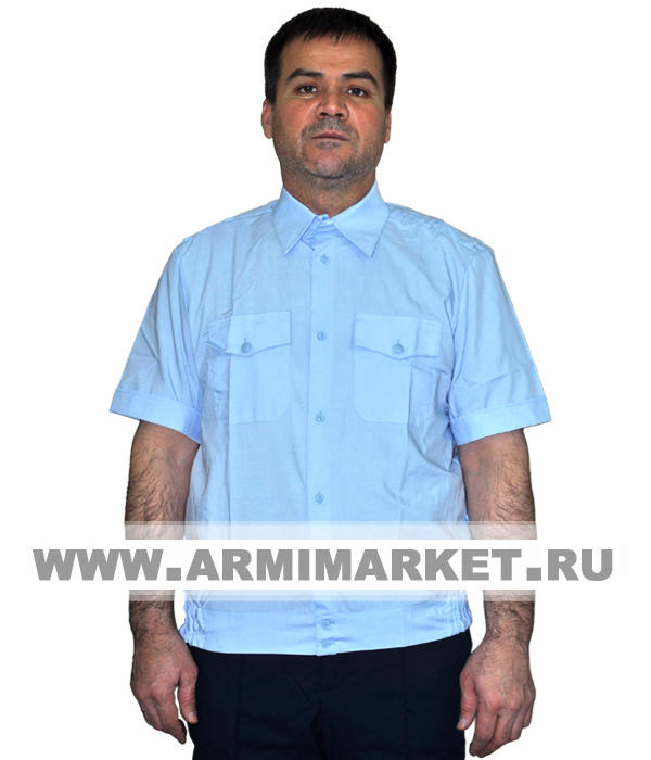 Рубашка полиции голубая с коротким рукавом на резинке р.46-49