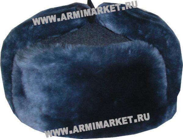 Шапка-ушанка из серо-голубой овчины р.54-62