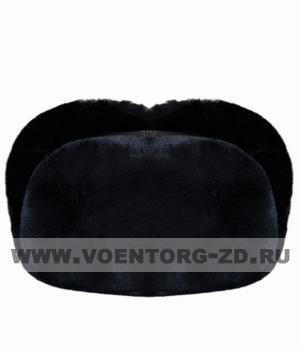 Шапка-ушанка из черной овчины (верх- кожа) р.55-60