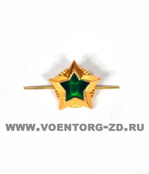 Звезда Судебных приставов (ФСПП 13 мм),  14 мм золотая с зеленой эмалью
