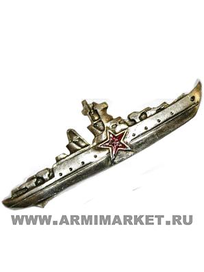 0221/2с Значок тяж.Командир Корабля, со звездой серебр. (ст)