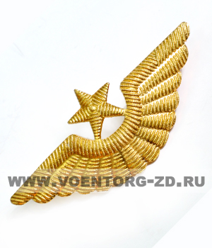 Кокарда ВВС на тулью фуражек (крылья, звезда большая)