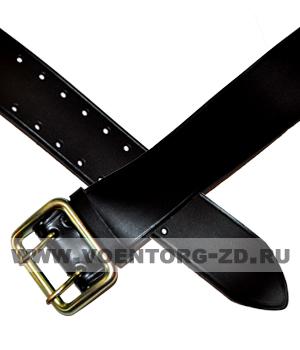 Ремень чёрный из кож.зама 50 мм с пряжкой на двух штырьках р.2
