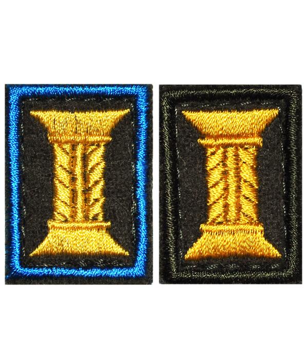 Вышитая эмблема КАТУШКА МО (Тура 22*15мм) оливк сукно защитная окант и голубая окант на липуч