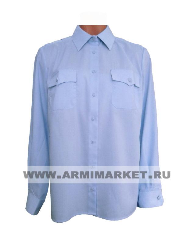 Рубашка полиции голубая с длинным рукавом в заправку р.37-52