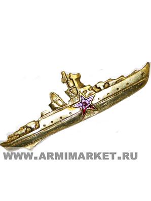 0221/2зол Значок тяж.Командир Корабля, со звездой золотой (ст)