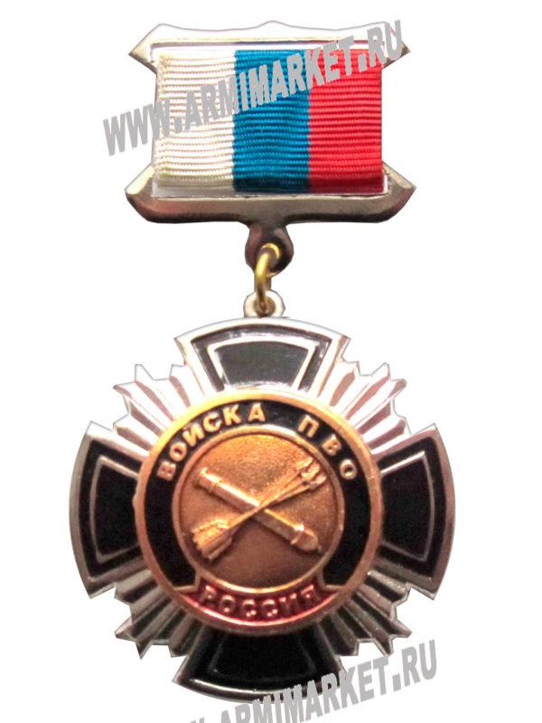 """0204 Значок сталь """"Войска ПВО"""" черн.,красн. крест, колодка триколор"""