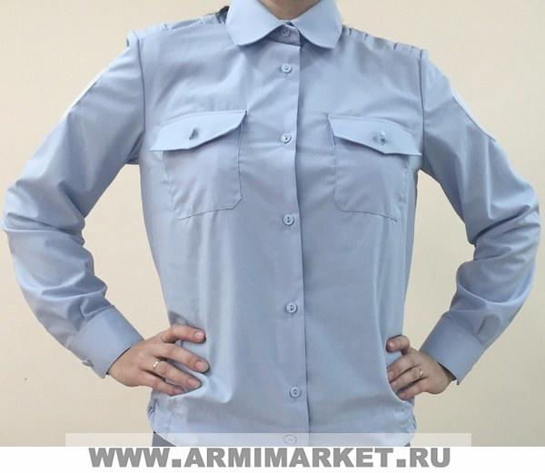 Рубашка женская полиции голубая с длинным рукавом р.33-42