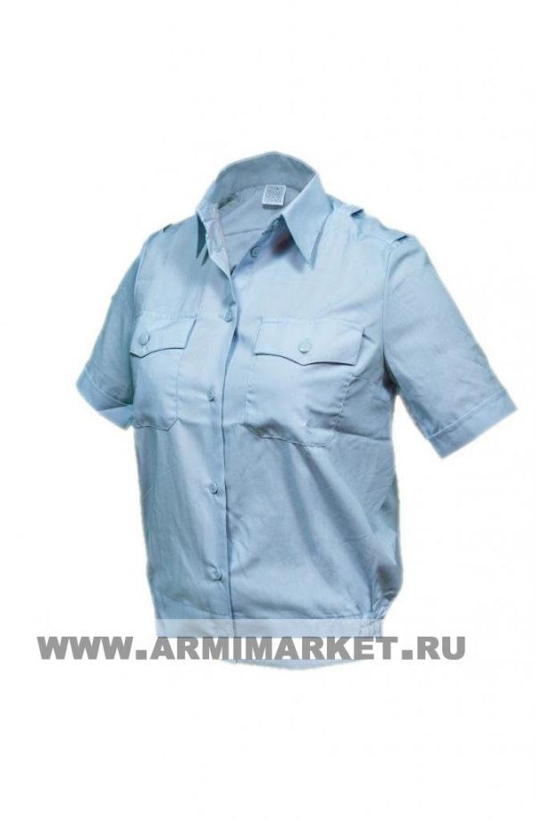 Рубашка женская полиции голубая с коротким рукавом р.33-42