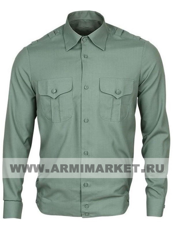 Рубашка оливковая с длинным рукавом для офицерского состава р.34-45
