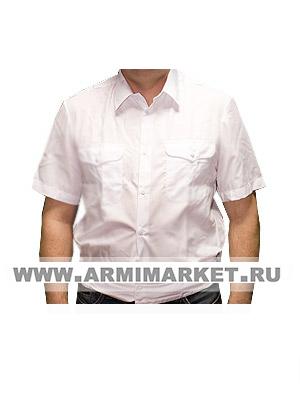 Рубашка полиции белая короткий рукав на резинке р.46-49