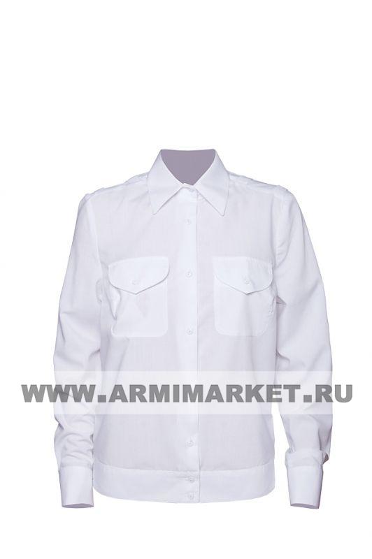 Рубашка полиции белая с длинным рукавом на резинке р.32-45