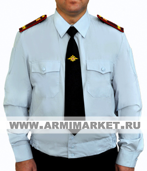 Рубашка полиции голубая с длинным рукавом на резинке р.34-45