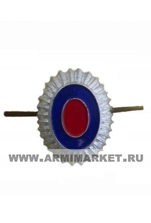 Кокарда малая серебряная синий и красный овал