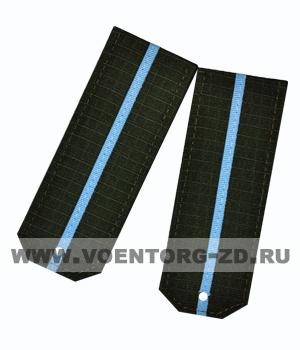 Погоны для офисного костюма зеленые 1 голубой просвет ткань рип-стоп
