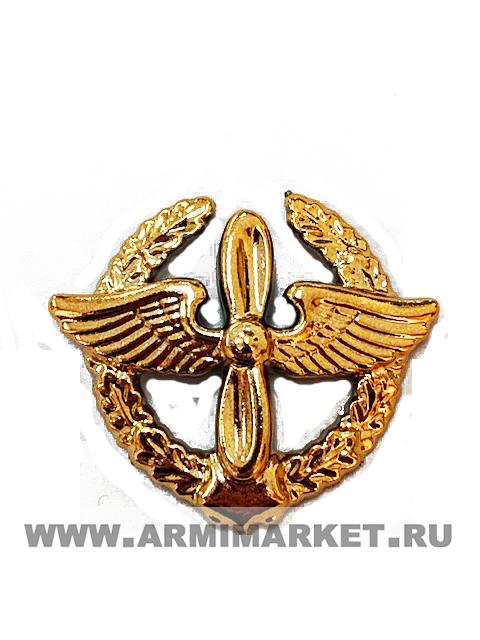 Эмблема ВВС золотая пластик (старая в венке)