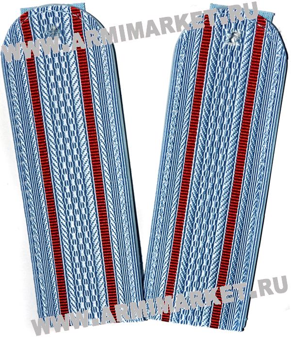 Погоны Полиции (голубые) 2 красных просв. съём.