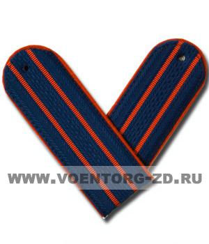 Погоны Полиции (синие) 2 красных просв. со шлёвкой