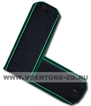 Погоны ФПС пограничные иссиня-черные зеленый кант съем