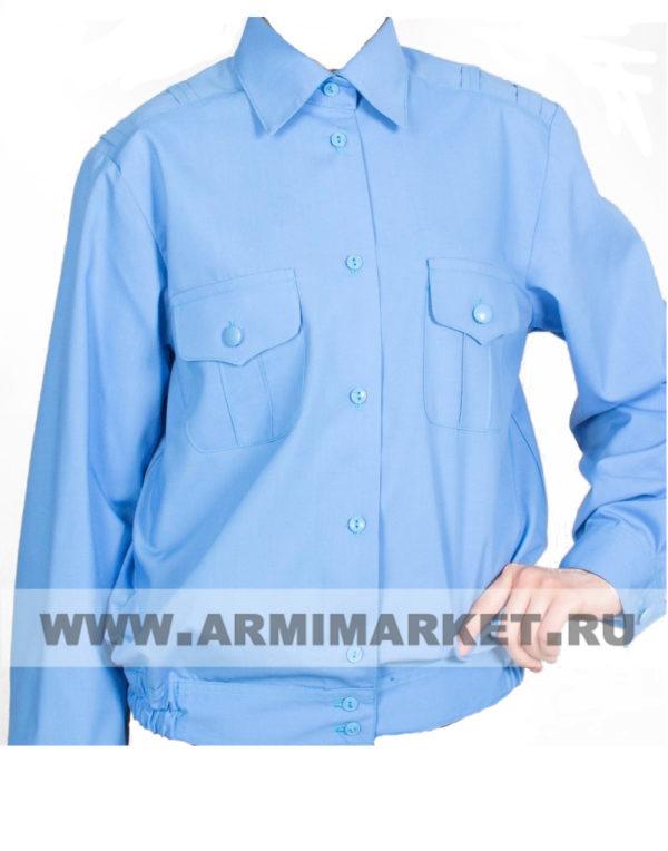 Рубашка женская голубая с длинным рукавом для офицерского состава р.39/2,3,4,5,6,  40/4,5,  41/5,6