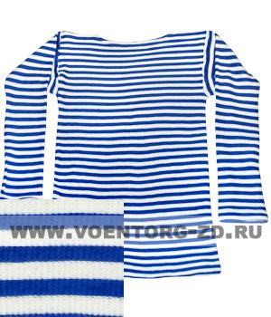 Фуфайка-тельняшка х/б ДВОЙНОЙ вязки   голубая полоса,дл.рукав р.44-60