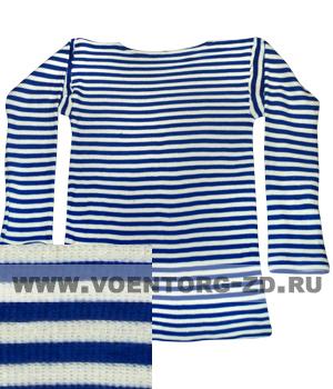 Фуфайка-тельняшка х/б ДВОЙНОЙ вязки  Т/синяя полоса,дл.рукав р.44-60