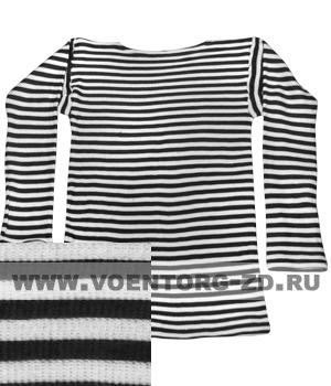 Фуфайка-тельняшка х/б ДВОЙНОЙ вязки  черная полоса,дл.рукав р.44-62