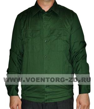 Рубашка офисная зеленая длинный рукав р.40-47