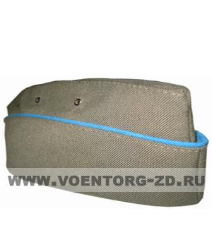 Пилотка для офиц. состава ВДВ (оливковая.голубой кант) р.54-60