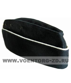 Пилотка для офиц. состава ВМФ (черная, белый кант) р.54-60