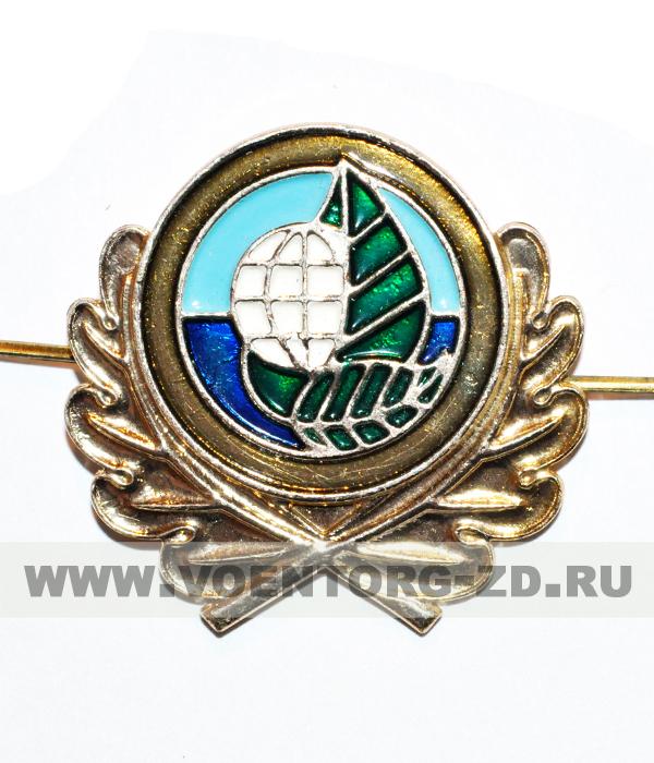 Эмблема Экология 42*42 (50*40) на фуражку (лист, Земной шар)