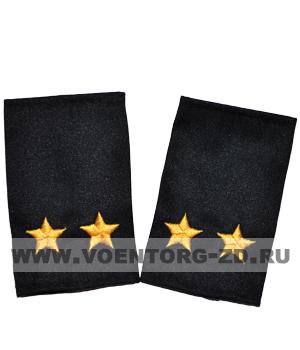 Фальш-погоны темно синие вышивка желтая подполковник (Полиция, ДПС)