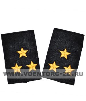 Фальш-погоны темно синие вышивка желтая полковник (Полиция, ДПС)