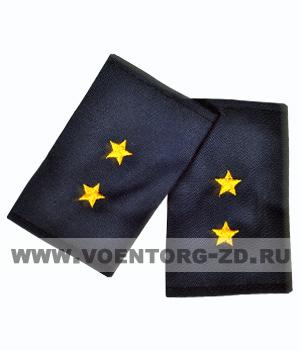 Фальш-погоны темно синие вышивка желтая прапорщик (Полиция, ДПС)
