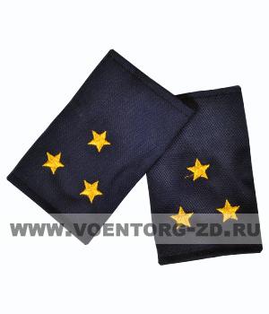 Фальш-погоны темно синие вышивка желтая ст.лейтенант (Полиция, ДПС)