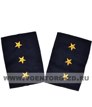 Фальш-погоны темно синие вышивка желтая ст.прапорщик (Полиция, ДПС)